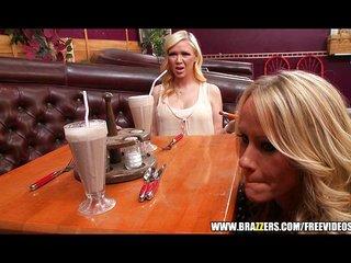Sexy blonde waitress seduces her customer