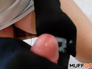 Busty MILF gives handjob