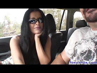 Busty Latina Foxy Anya Gives Handjob in Car
