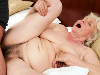 Gray haired grandma getting pussy banged