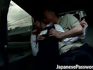 Good-looking Japanese slut gets seduces hard by three powered of age guy