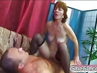 Jocular mater Ivet riding younger big cock having it away having a nice ride taking this young spunk