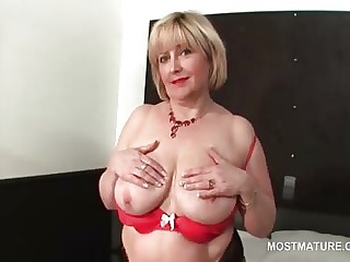 X-rated full-grown flashing her shaved cunt coupled with boobs