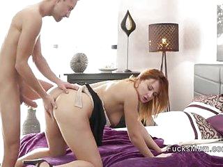 Anorectic ladies' bangs redhead Milf helter-skelter bedroom