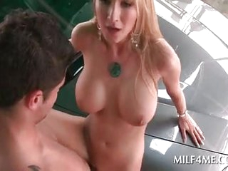 Huge knockers MILF pussy banged on a passenger car top