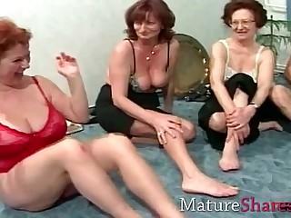 Grannies in brighten absent party