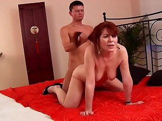 Grown in hairy redhead 50plus fucked by younger guy