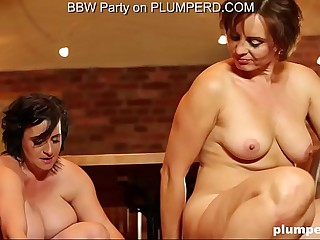 2 Grown up Obese Ladies enjoying be passed on cleaning boy