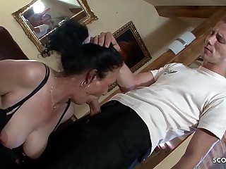 Hairy Grandma Found Porn be required of Puerile Boy and let him Fuck Anal