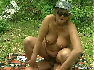 German BBW granny takes young weasel words outdoor