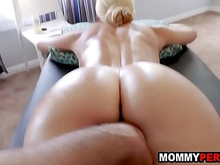 Son massages and fucks his blonde milf materfamilias