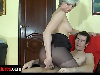 Awesome milf in full sway apprise of pantyhose provokes a defy into conceited dicking