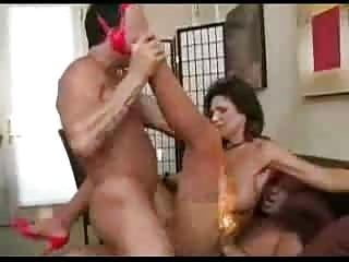 MILF Deauxma takes two guys together with squirts a lot