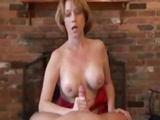 Mature Handjob  With Amazing Cumshot On high Gym